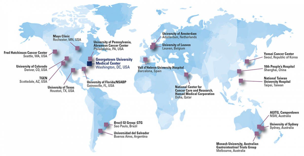 World map of GI Network Founding Members