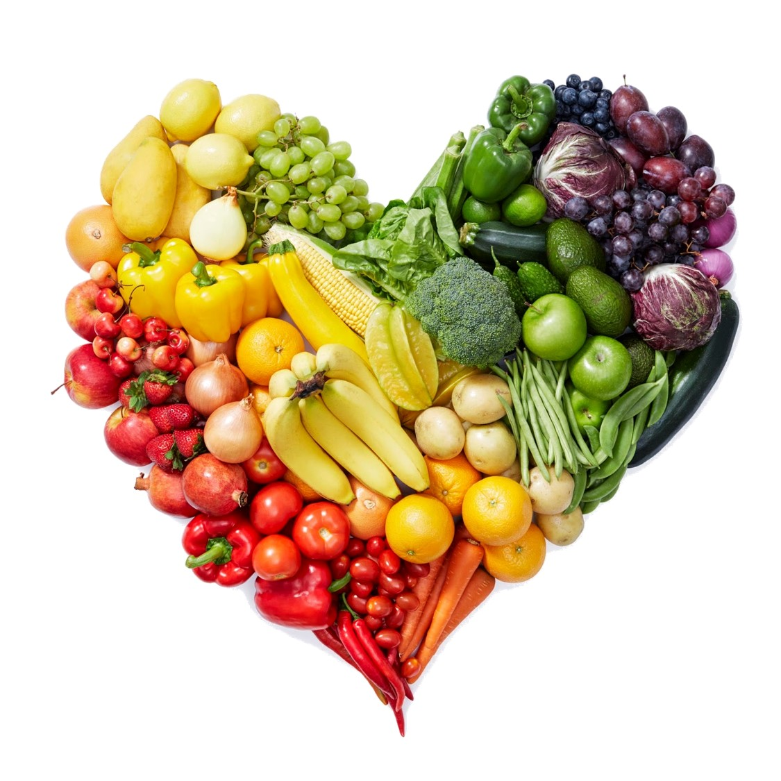Assortment of fruit and vegetables arranged in a heart shape