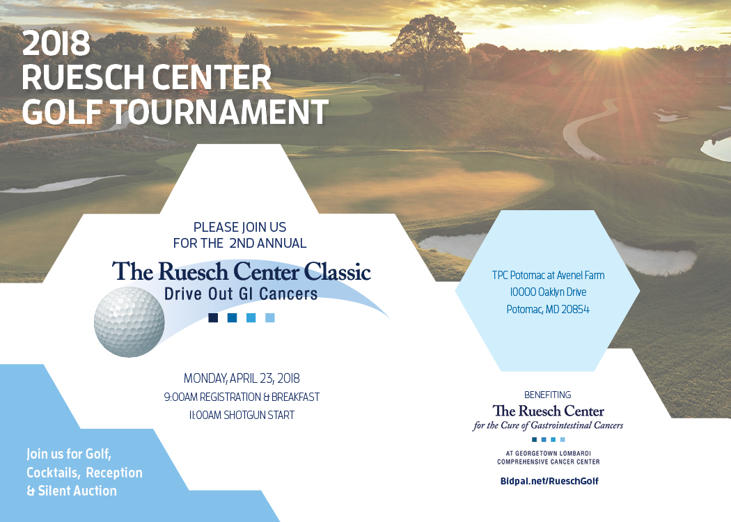 2018 Ruesch golf tournament postcard with information